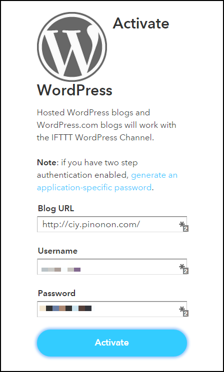 IFTTT WordPress Activate 2